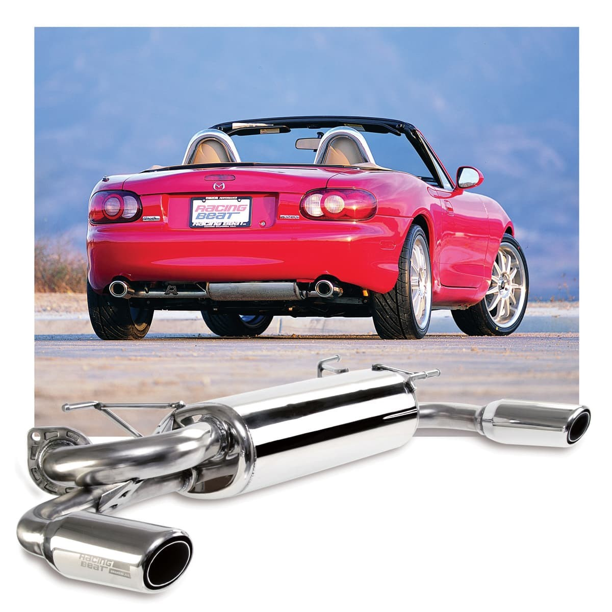 Dual Tip Muffler by Racing Beat - Exhaust Systems, Mufflers